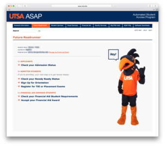 Future Roadrunner ASAP Portal Screenshot