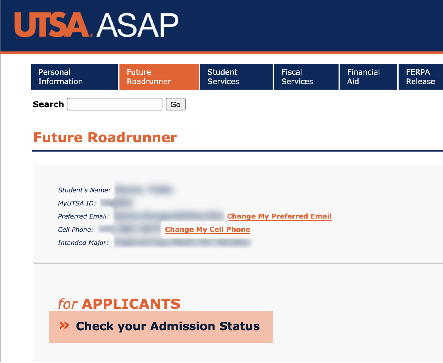 Select Check Your Admission Status