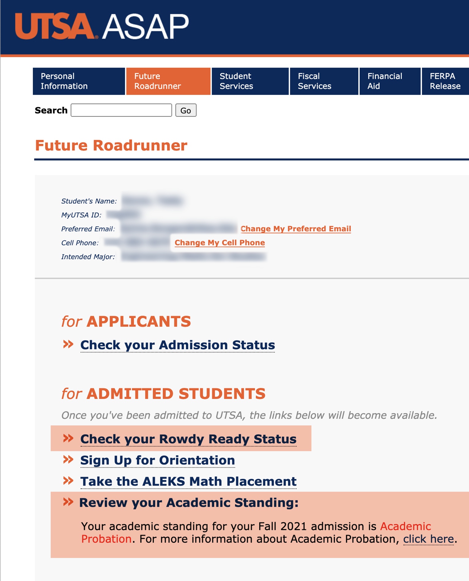 ASAP Future Roadrunner Admitted Students