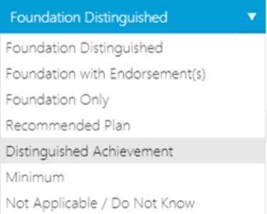 SRAR Graduation Diploma Plan Drop Down List